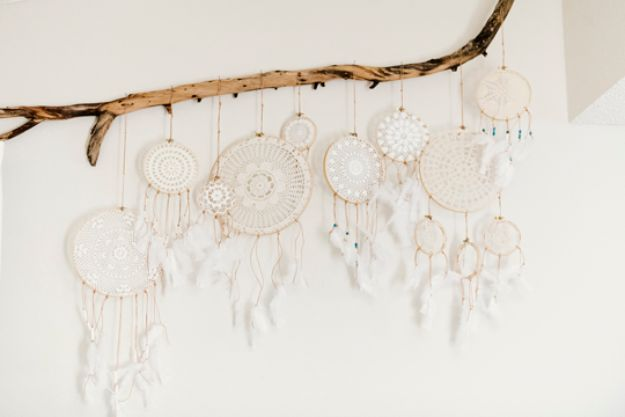 DIY Bedroom Decor Ideas - Vintage Doily Dreamcatcher DIY - Easy Room Decor Projects for The Home - Cheap Farmhouse Crafts, Wall Art Idea, Bed and Bedding, Furniture