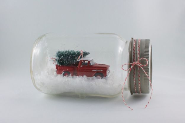 DIY Snow Globe Ideas - Vintage Jar Snow Globe - Easy Ideas To Make Snow Globes With Kids - Mason Jar, Picture, Ornament, Waterless Christmas Crafts - Cheap DYI Holiday Gift Ideas