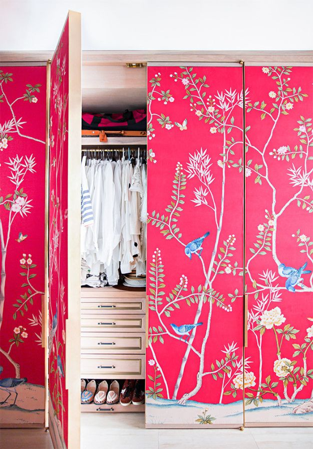 DIY Bedroom Decor Ideas - Wallpaper Your Closet Doors - Easy Room Decor Projects for The Home - Cheap Farmhouse Crafts, Wall Art Idea, Bed and Bedding, Furniture