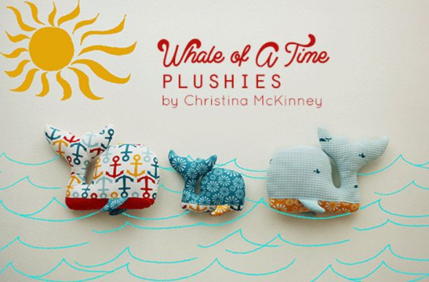 Sewing Projects for Fat Quarters - Whale Plushies - Easy Ideas to Sew With a Fat Quarter - Quick DIY Gifts, Quilt, Placemats, DIY Baby Gift, Project for The Home, Kids, Christmas