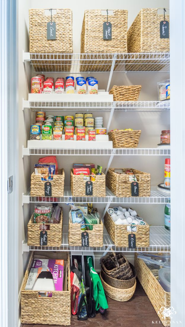 DIY Pantry Organizing Ideas - Wire Shelving Organization - Easy Organization for the Kitchen Pantry - Cheap Shelving and Storage Jars, Labels, Containers, Baskets to Organize Cans and Food, Spices