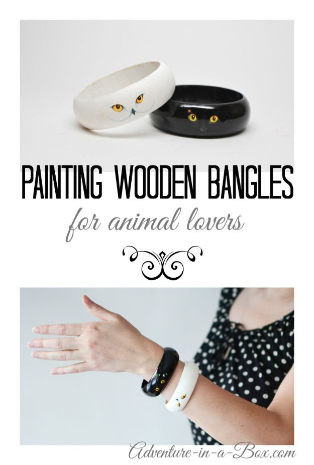 Fun DIY Ideas for Adults - Wooden Bangles for Animal Lovers - Easy Crafts and Gift Ideas , Cool Projects That Are Fun to Make - Crafts Idea for Men and Women