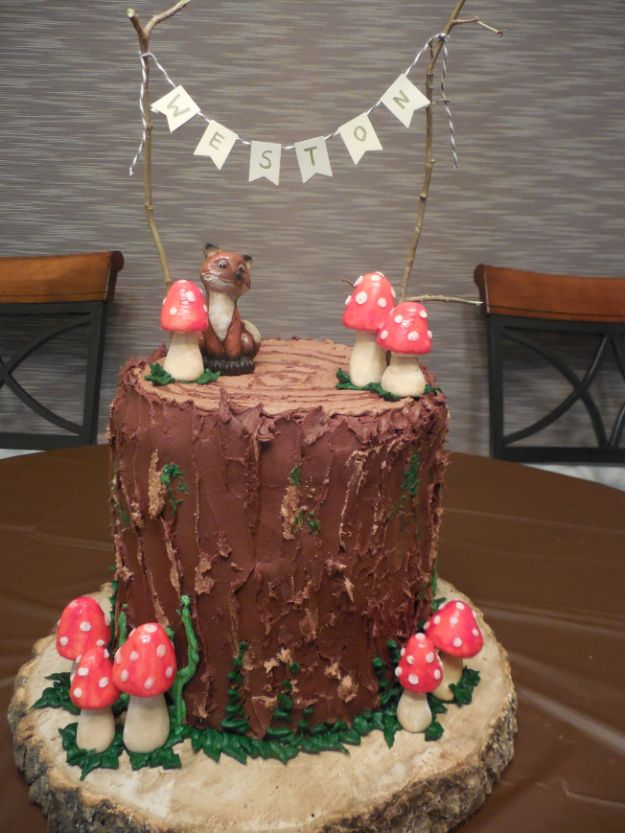 Baby Shower Cakes DIY - Woodland Themed Baby Shower Cake - Easy Cake Recipes and Cupcakes to Make For Babies Showers - Ideas for Boys and Girls, Neutral, for Twins