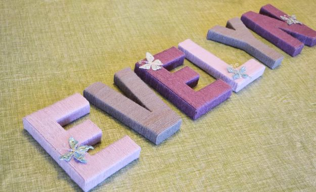 DIY Nursery Decor Ideas for Girls - Yarn-Wrapped Letters - Cute Pink Room Decorations for Baby Girl - Crib Bedding, Changing Table, Organization Idea, Furniture and Easy Wall Art