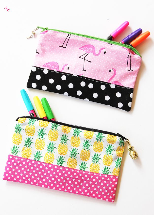 Sewing Projects to Make and Sell - Zipper Pencil Pouch - Easy Things to Sew and Sell on Etsy and Online Shops - DIY Sewing Crafts With Free Pattern and Tutorial