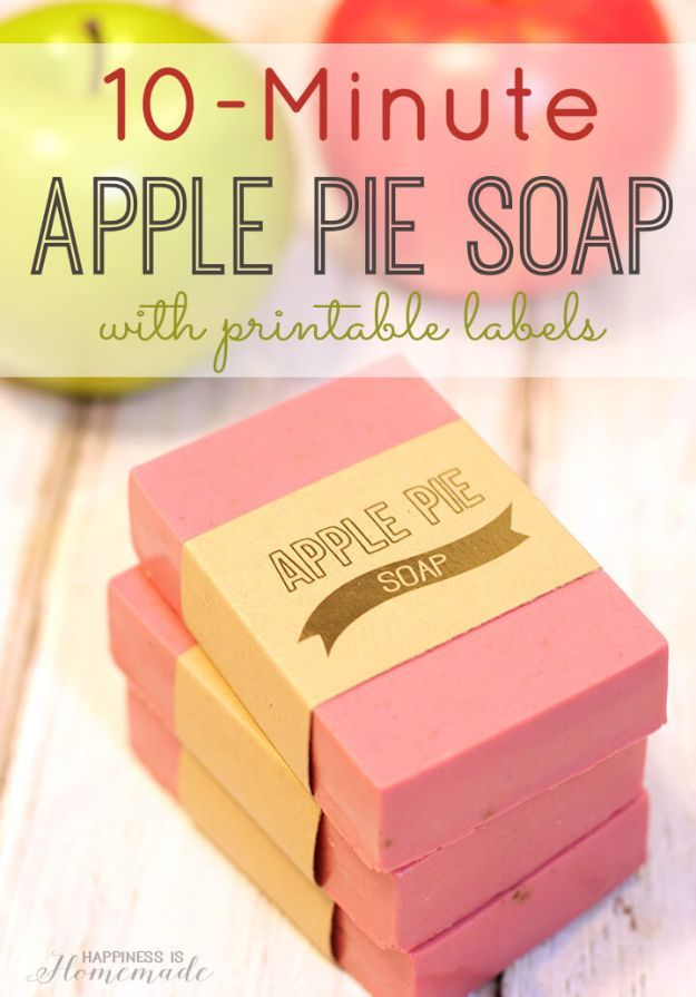 DIY Apple Crafts | 10-Minute Apple Pie Soap - Cute and Easy DIY Ideas With Apples - Painting, Mason Jars, Home Decor