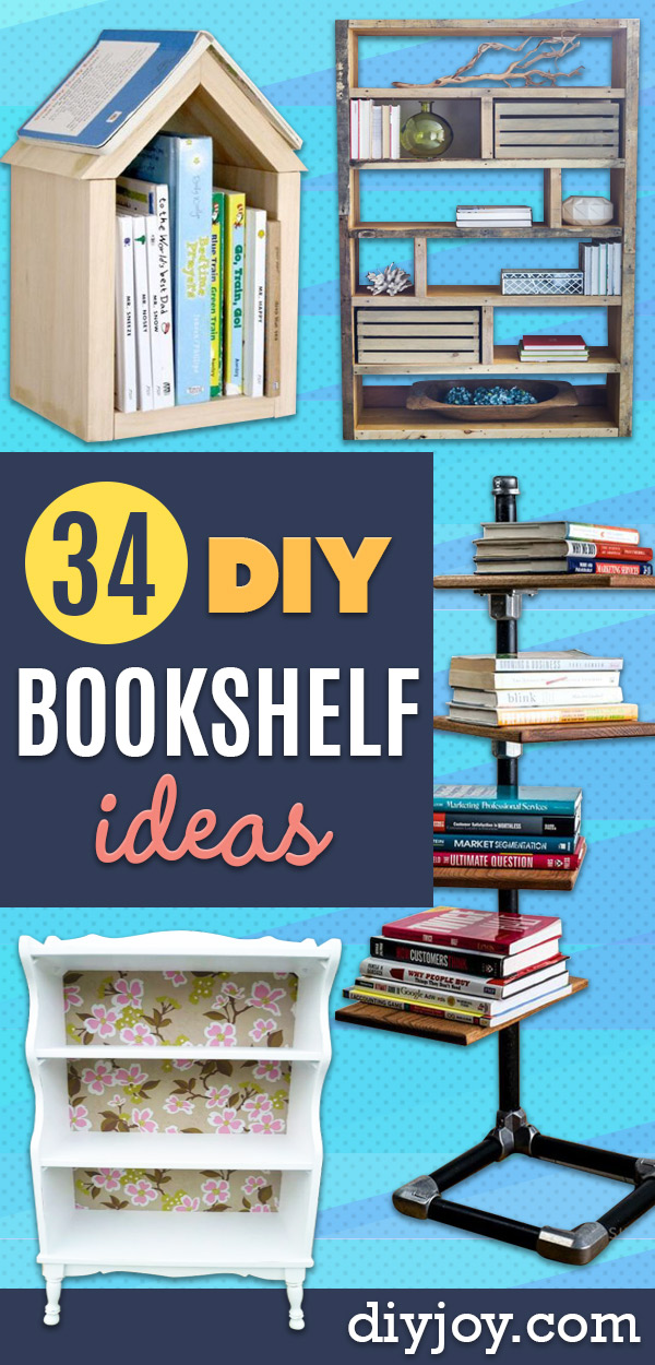 DIY Bookshelf Ideas - DYI Bookshelves and Projects - Easy and Cheap Home Decor Idea for Bedroom, Living Room - Step by Step tutorial #diy #diyideas #diydecor #homedecor