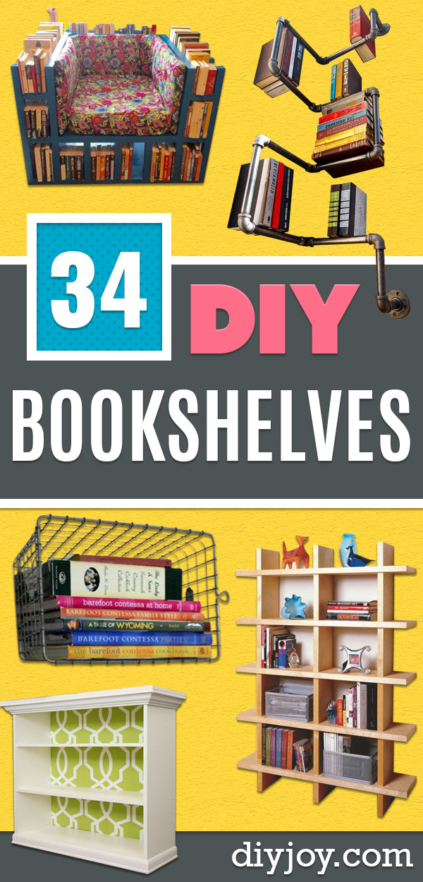 DIY Bookshelf Ideas - DYI Bookshelves and Projects - Easy and Cheap Home Decor Idea for Bedroom, Living Room - Step by Step tutorial Book Shelf