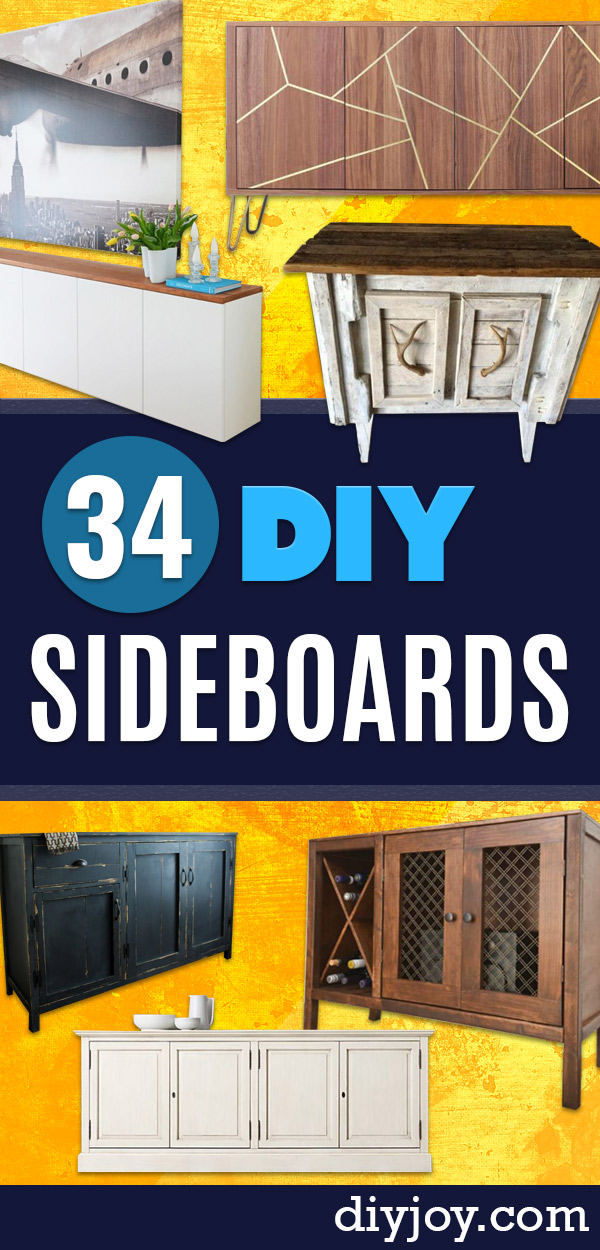 DIY Sideboards - Easy Furniture Ideas to Make On A Budget - DYI Side Board Tutorial for Makeover, Building Wooden Home Decor