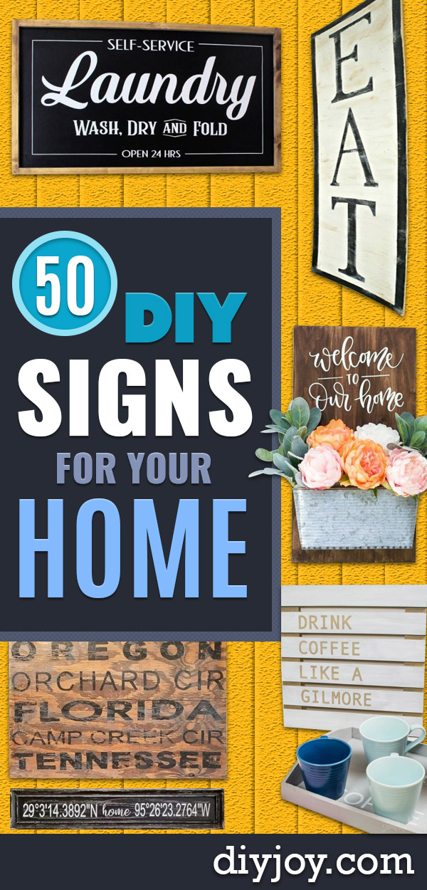 DIY Signs To Make For Your Home | Rustic Wall Art Ideas and Homemade Sign for Bedroom, Kitchen, Farmhouse Decor | Stencil Pallet and Distressed Vintage