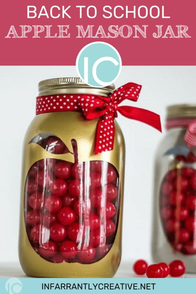 DIY Apple Crafts | Apple Mason Jar - Cute and Easy DIY Ideas With Apples - Painting, Mason Jars, Home Decor