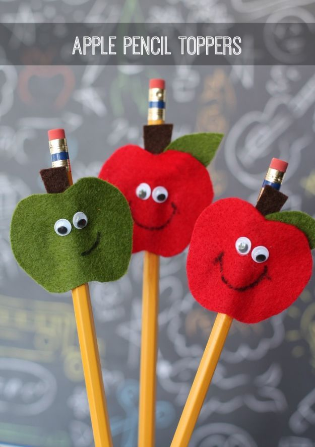 DIY Apple Crafts | Apple Pencil Toppers - Cute and Easy DIY Ideas With Apples - Painting, Mason Jars, Home Decor