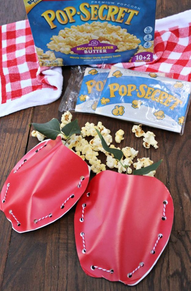 DIY Apple Crafts | Apple Popcorn Pouches - Cute and Easy DIY Ideas With Apples - Painting, Mason Jars, Home Decor