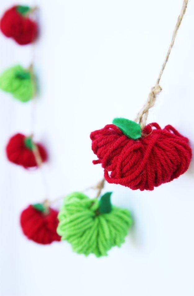DIY Apple Crafts | Apple Yarn Garland - Cute and Easy DIY Ideas With Apples - Painting, Mason Jars, Home Decor