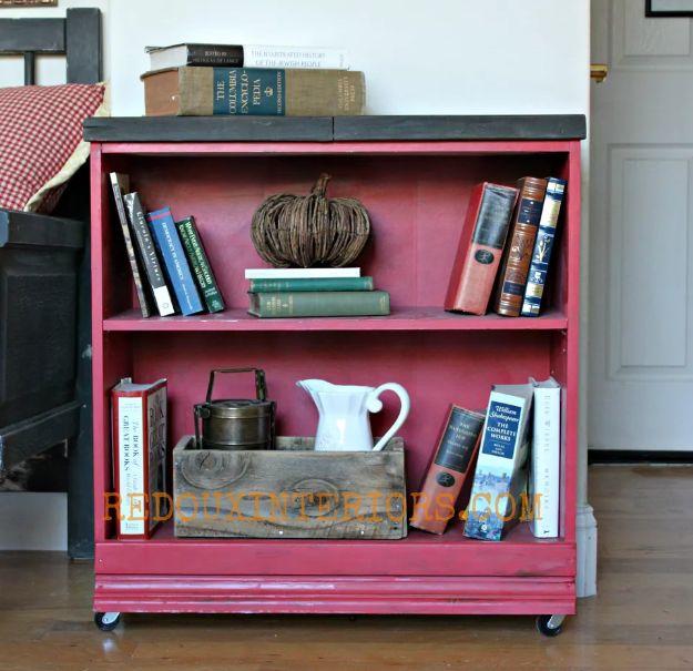 DIY Bookshelf Ideas - Attach Wheels to the Base - DYI Bookshelves and Projects - Easy and Cheap Home Decor Idea for Bedroom, Living Room - Step by Step tutorial #diy #diyideas #diydecor #homedecor
