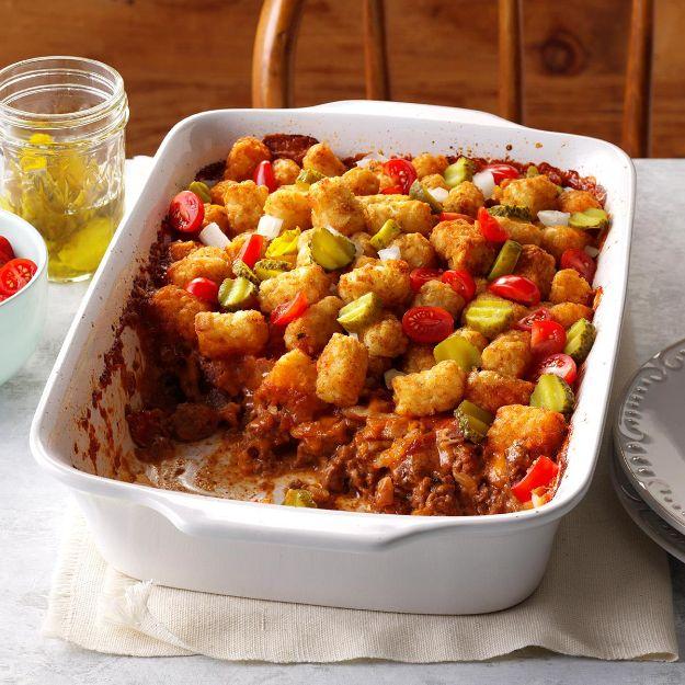 Potluck Recipe Ideas - Bacon Cheeseburger Tater Tot Bake - Easy Recipes to Take To Potlucks - Dinner Casseroles, Salads, One Pot Meals, Pasta Dishes, Quick Crockpot Recipes