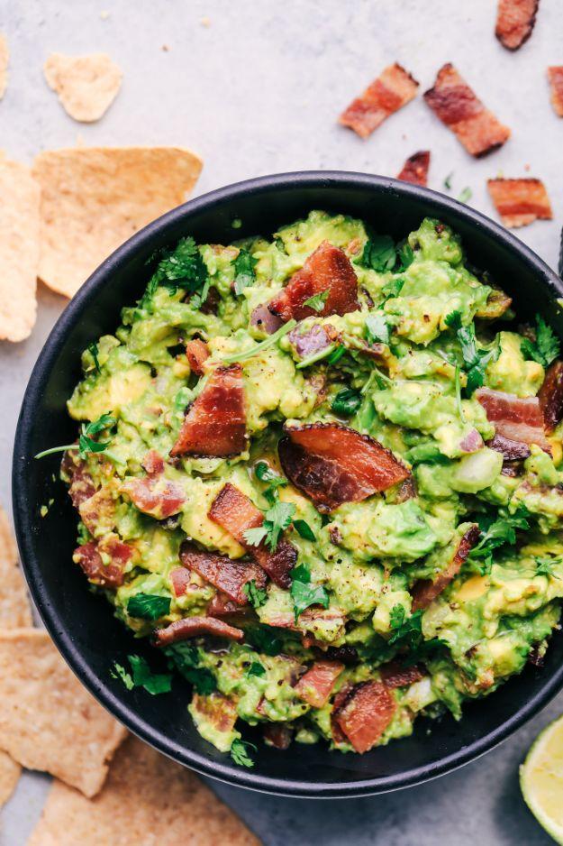 Potluck Recipe Ideas - Bacon Guacamole - Easy Recipes to Take To Potlucks - Dinner Casseroles, Salads, One Pot Meals, Pasta Dishes, Quick Crockpot Recipes