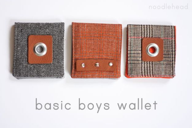 DIY Wallets - Basic Boys Wallet - Cool and Easy DIY Wallet Ideas - Fabric, Duct Tape and Leather Crafts - Tutorial and Instructions for Making A Wallet - Cheap DIY Gifts