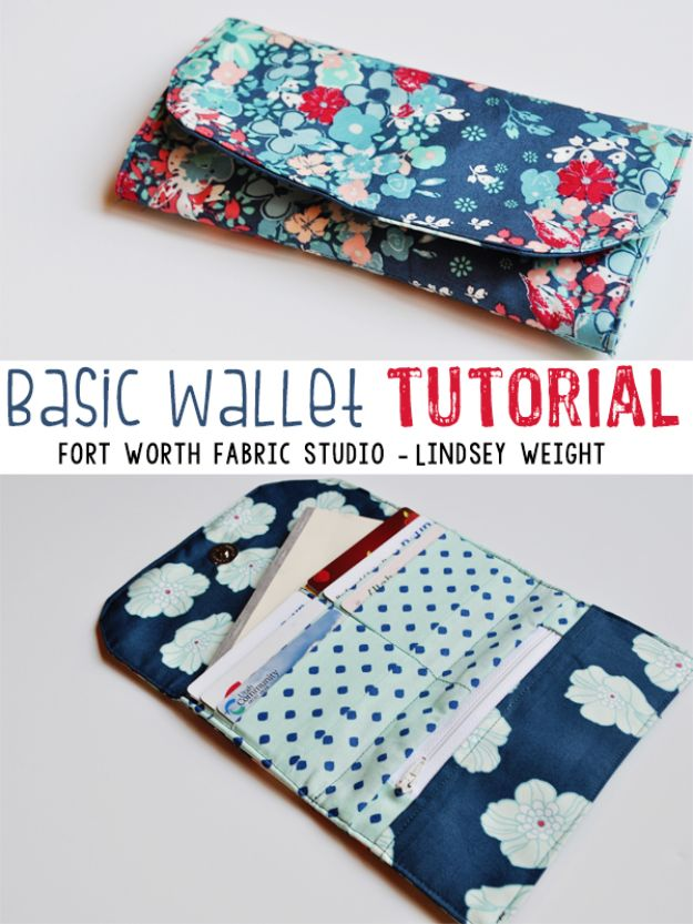 DIY Wallets - Basic Wallet Tutorial - Cool and Easy DIY Wallet Ideas - Fabric, Duct Tape and Leather Crafts - Tutorial and Instructions for Making A Wallet - Cheap DIY Gifts