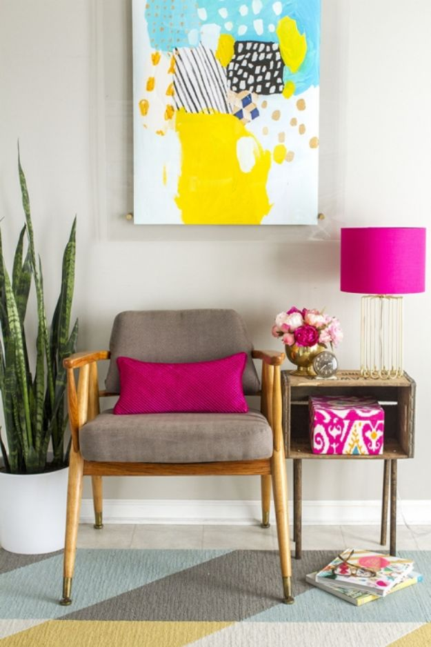 DIY Midcentury Modern Decor Ideas - Before + After - Mid-Century Side Chair - DYI Mid Centurty Modern Furniture and Home Decorations - Chairs, Sofa, Wall Art , Shelves, Bedroom and Living Room