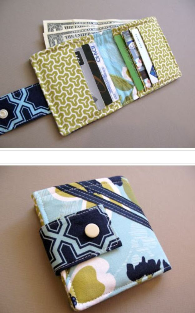 DIY Wallets - Bi-Fold Wallet - Cool and Easy DIY Wallet Ideas - Fabric, Duct Tape and Leather Crafts - Tutorial and Instructions for Making A Wallet - Cheap DIY Gifts