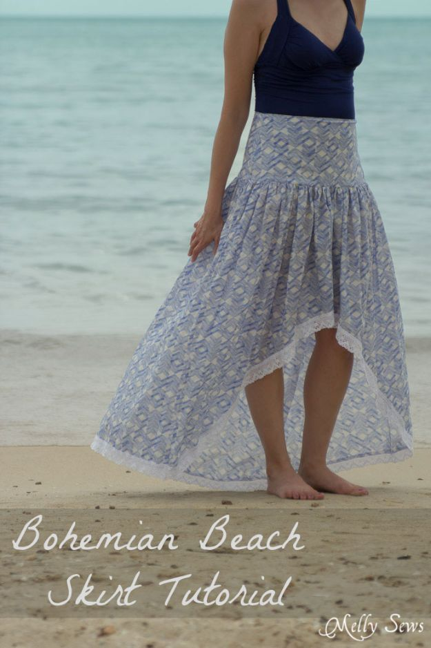 DIY Boho Clothes and Jewelry - Bohemian Skirt - How to Make Easy Boho Fashion On A Budget - Edgy Homemade Hippe Clothing Ideas for Summer, Winter, Spring and Fall