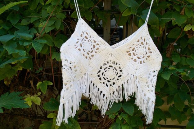 DIY Boho Clothes and Jewelry - Boho Crochet Crop Top DIY - How to Make Easy Boho Fashion On A Budget - Edgy Homemade Hippe Clothing Ideas for Summer, Winter, Spring and Fall