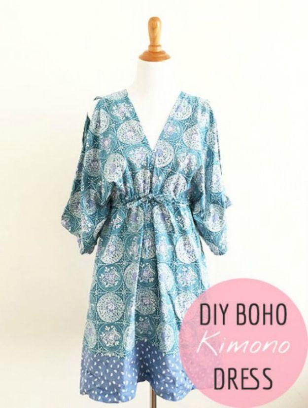 DIY Boho Clothes and Jewelry - Boho Kimono Dress - How to Make Easy Boho Fashion On A Budget - Edgy Homemade Hippe Clothing Ideas for Summer, Winter, Spring and Fall