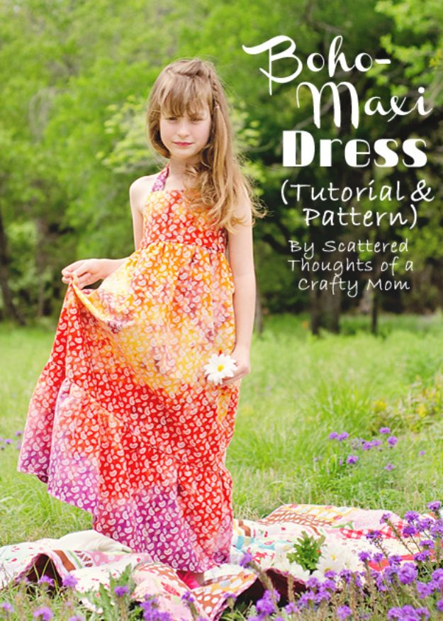 DIY Boho Clothes and Jewelry - Boho-Maxi Dress Tutorial - How to Make Easy Boho Fashion On A Budget - Edgy Homemade Hippe Clothing Ideas for Summer, Winter, Spring and Fall