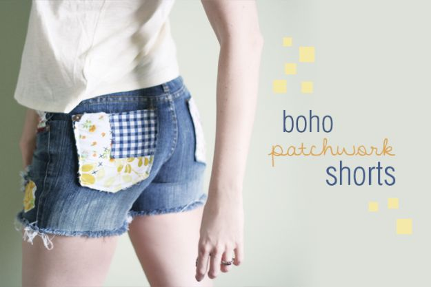 DIY Boho Clothes and Jewelry - Boho Patchwork Shorts - How to Make Easy Boho Fashion On A Budget - Edgy Homemade Hippe Clothing Ideas for Summer, Winter, Spring and Fall