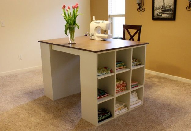 DIY Bookshelves - Bookshelf Craft Table - Easy Book Shelf Ideas to Build for Cheap Home Decor - Tutorials and Plans, Best IKEA Hacks, Rustic Farmhouse and Mid Century Modern