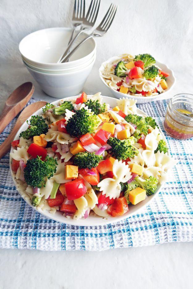 Potluck Recipe Ideas - Broccoli Cheddar Pasta Salad with Tangy Italian Vinaigrette - Easy Recipes to Take To Potlucks - Dinner Casseroles, Salads, One Pot Meals, Pasta Dishes, Quick Crockpot Recipes