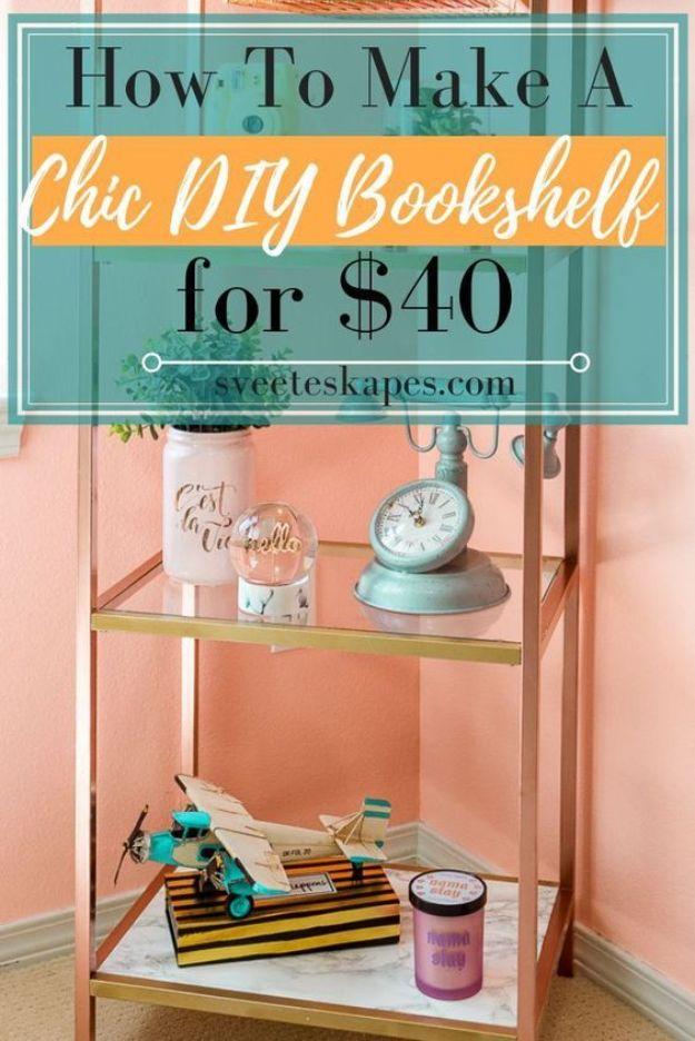 DIY Bookshelf Ideas - Cheap DIY Bookshelf for $40 - DYI Bookshelves and Projects - Easy and Cheap Home Decor Idea for Bedroom, Living Room - Step by Step tutorial #diy #diyideas #diydecor #homedecor