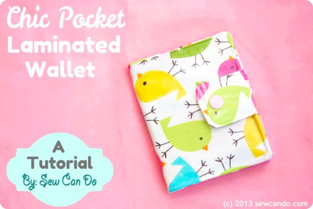 DIY Wallets - Chic Pocket Laminated Wallet - Cool and Easy DIY Wallet Ideas - Fabric, Duct Tape and Leather Crafts - Tutorial and Instructions for Making A Wallet - Cheap DIY Gifts