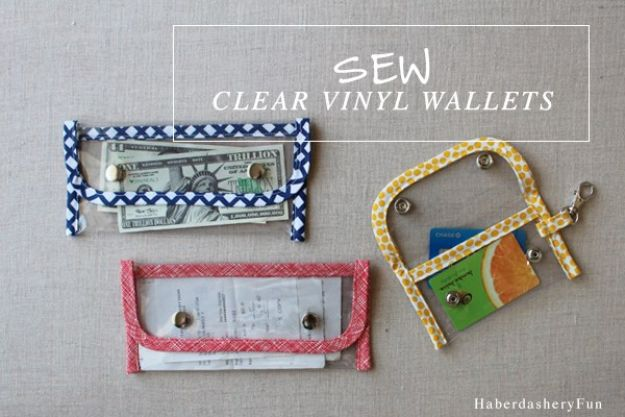 DIY Wallets - Clear Vinyl Wallets - Cool and Easy DIY Wallet Ideas - Fabric, Duct Tape and Leather Crafts - Tutorial and Instructions for Making A Wallet - Cheap DIY Gifts