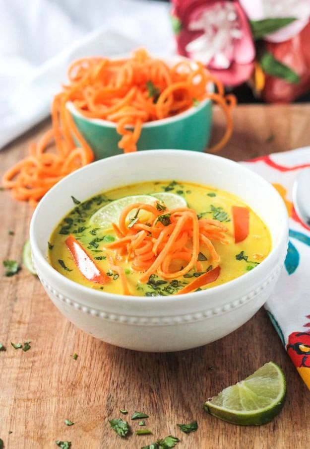 Recipes for Clean Eating - Coconut Curry Soup With Sweet Potato Noodles - Raw and Whole Foods, Unprocessed Meal and Snack Ideas for Lunch and Dinner - Fresh, Healthy Foods and Recipe Ideas