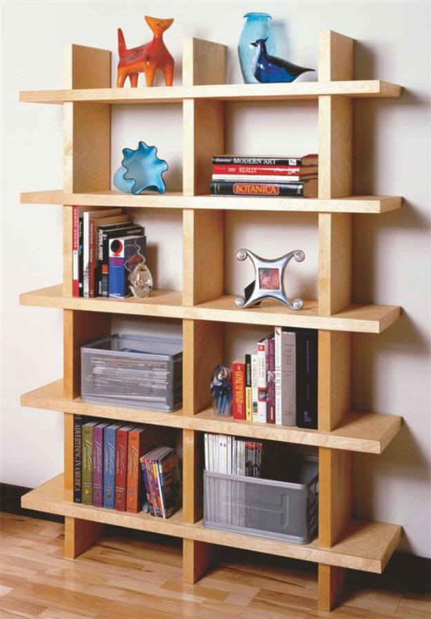 DIY Bookshelves - Contemporary Bookcase - Easy Book Shelf Ideas to Build for Cheap Home Decor - Tutorials and Plans, Best IKEA Hacks, Rustic Farmhouse and Mid Century Modern