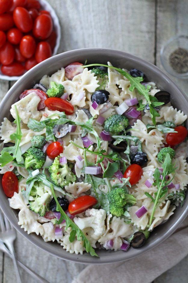 Potluck Recipe Ideas - Creamy Summer Arugula Pasta Salad - Easy Recipes to Take To Potlucks - Dinner Casseroles, Salads, One Pot Meals, Pasta Dishes, Quick Crockpot Recipes
