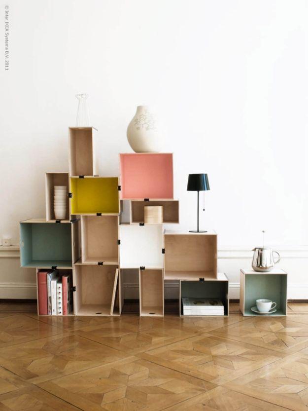 DIY Bookshelf Ideas - Cubist Plywood Box Bookshelf with Binder Clips - DYI Bookshelves and Projects - Easy and Cheap Home Decor Idea for Bedroom, Living Room - Step by Step tutorial #diy #diyideas #diydecor #homedecor