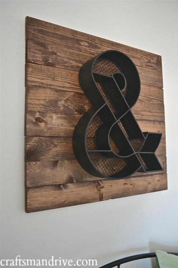 DIY Signs To Make For Your Home | DIY Ampersand Sign - Rustic Wall Art Ideas and Homemade Sign for Bedroom, Kitchen, Farmhouse Decor | Stencil Pallet and Distressed Vintage