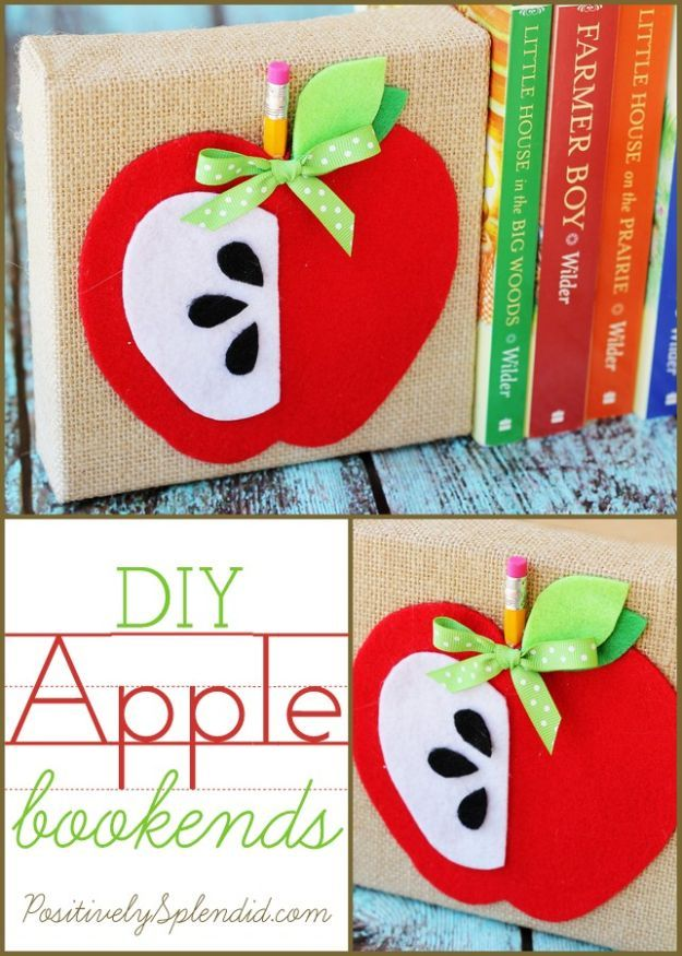 DIY Apple Crafts | DIY Apple Bookends - Cute and Easy DIY Ideas With Apples - Painting, Mason Jars, Home Decor