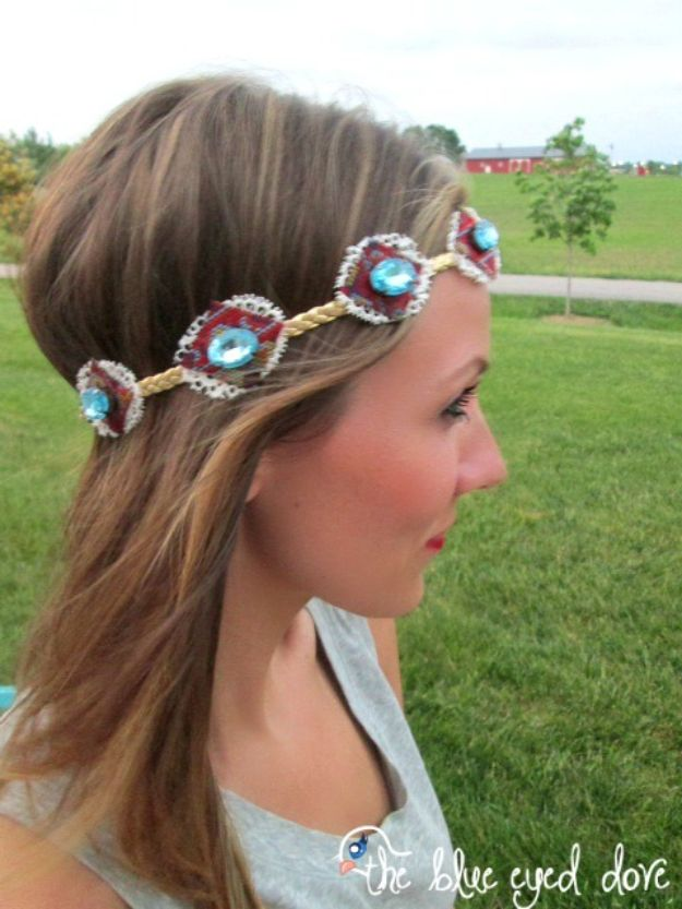 DIY Boho Clothes and Jewelry - DIY Boho Chic Headband - How to Make Easy Boho Fashion On A Budget - Edgy Homemade Hippe Clothing Ideas for Summer, Winter, Spring and Fall