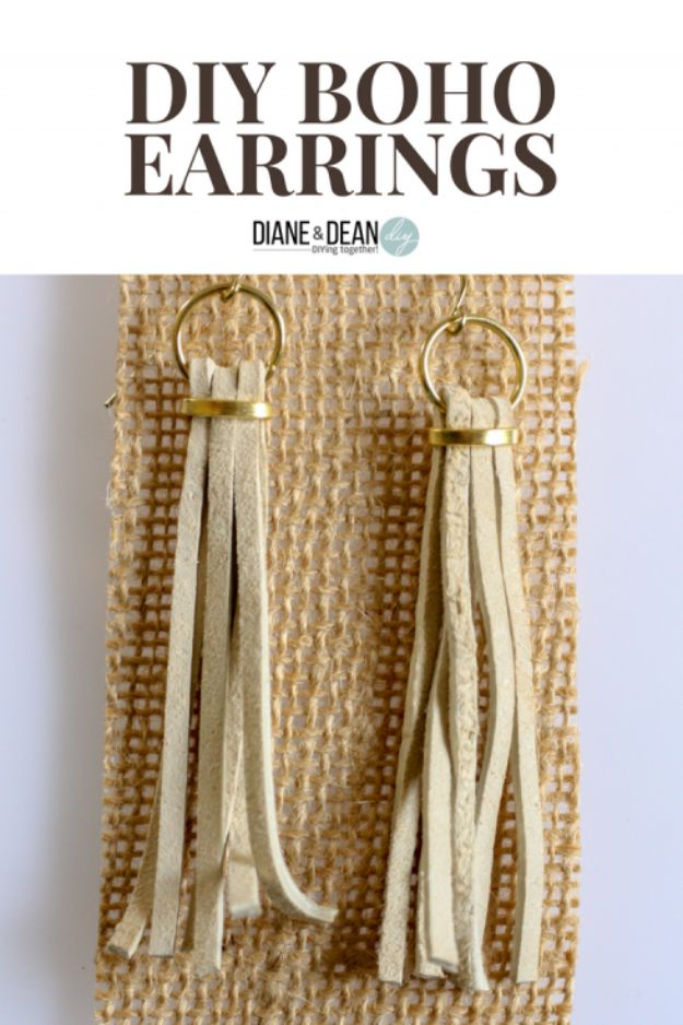 DIY Boho Clothes and Jewelry - DIY Boho Style Earrings - How to Make Easy Boho Fashion On A Budget - Edgy Homemade Hippe Clothing Ideas for Summer, Winter, Spring and Fall