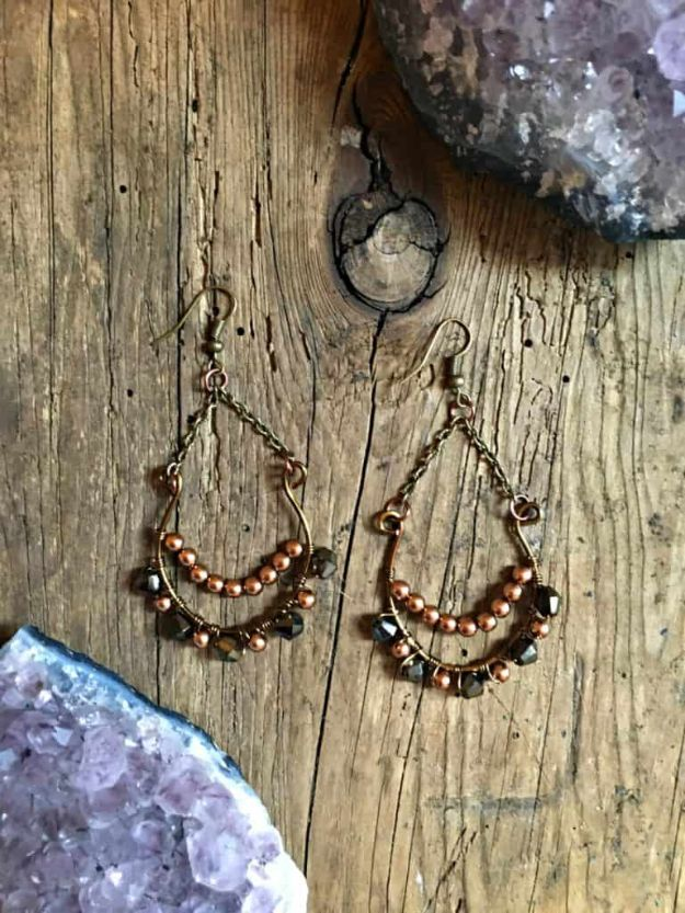 DIY Boho Clothes and Jewelry - DIY Brass Boho Earrings - How to Make Easy Boho Fashion On A Budget - Edgy Homemade Hippe Clothing Ideas for Summer, Winter, Spring and Fall
