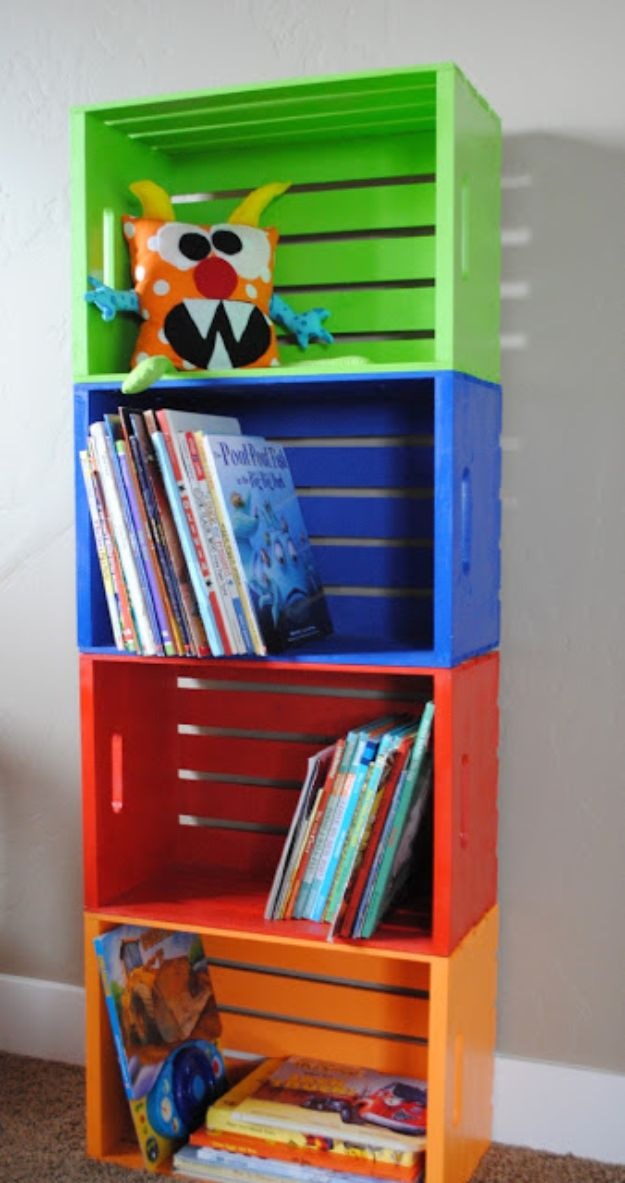 DIY Bookshelves - DIY Colorful Crate Bookshelf - Easy Book Shelf Ideas to Build for Cheap Home Decor - Tutorials and Plans, Best IKEA Hacks, Rustic Farmhouse and Mid Century Modern