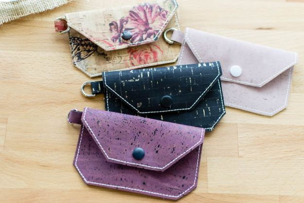 DIY Wallets - DIY Cork Fabric Card Wallet - Cool and Easy DIY Wallet Ideas - Fabric, Duct Tape and Leather Crafts - Tutorial and Instructions for Making A Wallet - Cheap DIY Gifts