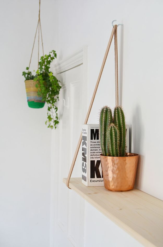 DIY Bookshelves - DIY Easy Leather Strap Shelf - Easy Book Shelf Ideas to Build for Cheap Home Decor - Tutorials and Plans, Best IKEA Hacks, Rustic Farmhouse and Mid Century Modern