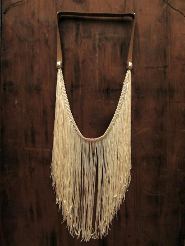 DIY Boho Clothes and Jewelry - DIY Fringe Studded Leather Necklace - How to Make Easy Boho Fashion On A Budget - Edgy Homemade Hippe Clothing Ideas for Summer, Winter, Spring and Fall
