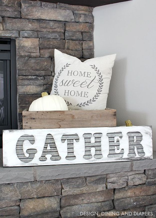 DIY Signs To Make For Your Home | DIY Gather Sign - Rustic Wall Art Ideas and Homemade Sign for Bedroom, Kitchen, Farmhouse Decor | Stencil Pallet and Distressed Vintage