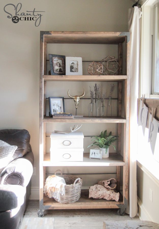 DIY Bookshelves - DIY Industrial Cart Bookcase - Easy Book Shelf Ideas to Build for Cheap Home Decor - Tutorials and Plans, Best IKEA Hacks, Rustic Farmhouse and Mid Century Modern